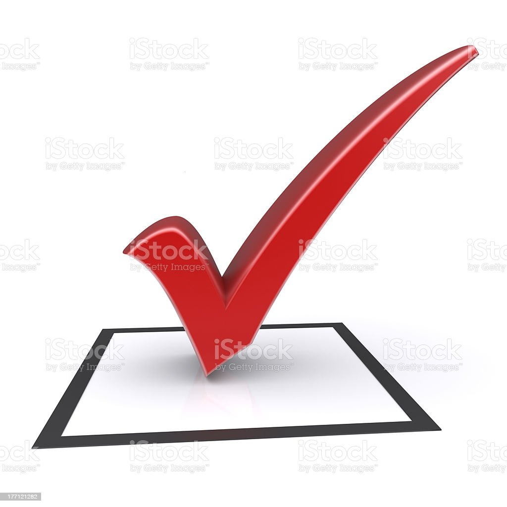 Red check mark royalty-free stock photo