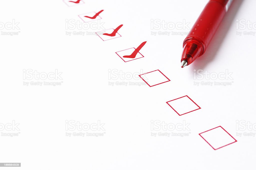 Red checkbox with ball point pen royalty-free stock photo