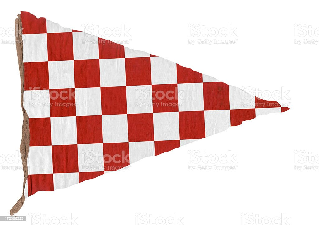 Red checkered Triangle Pennant royalty-free stock photo