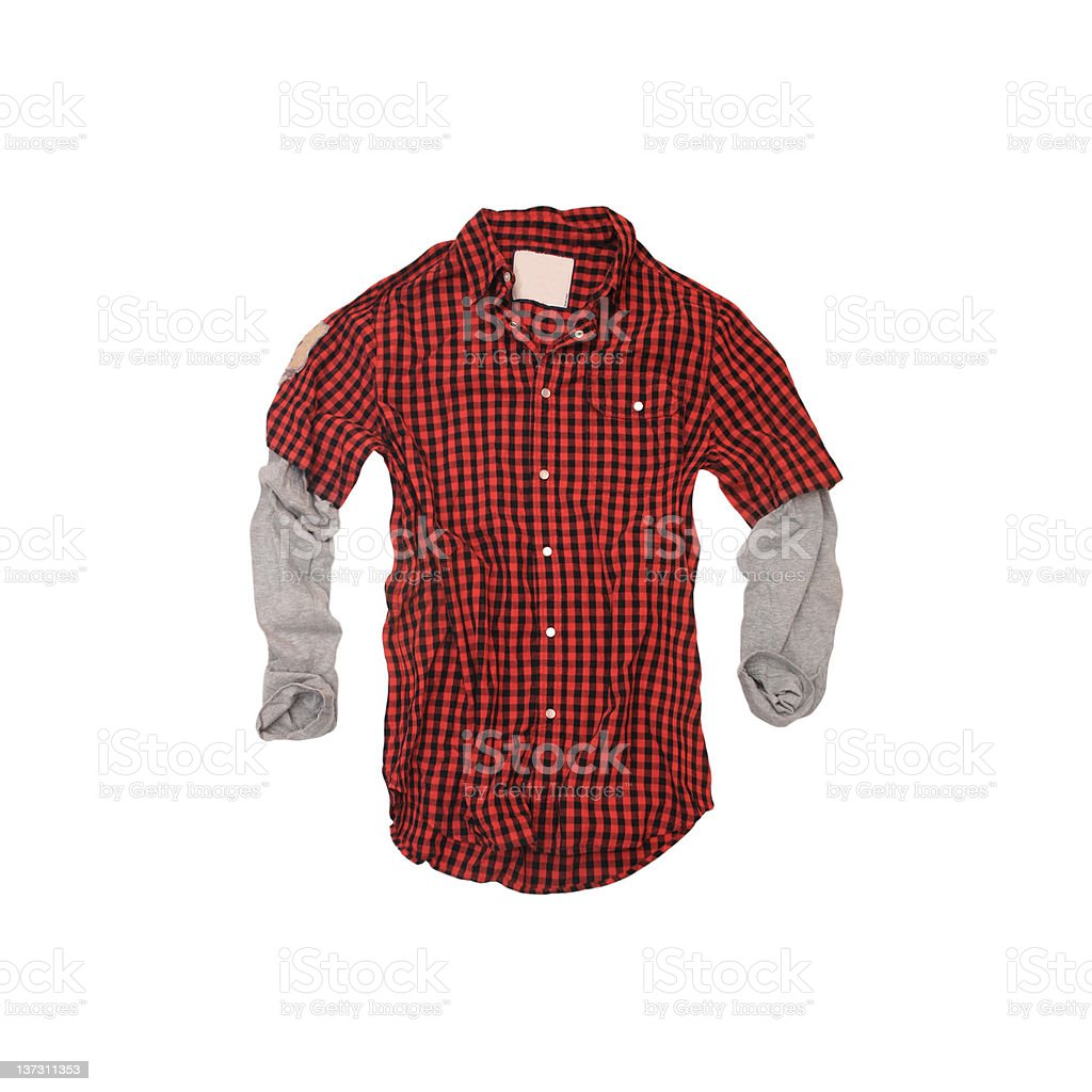 Red Checkered 'Twofer' Shirt on White Background stock photo