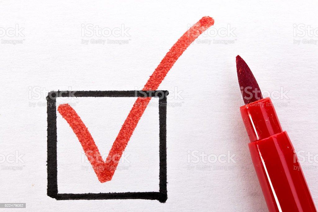 red checkmark stock photo