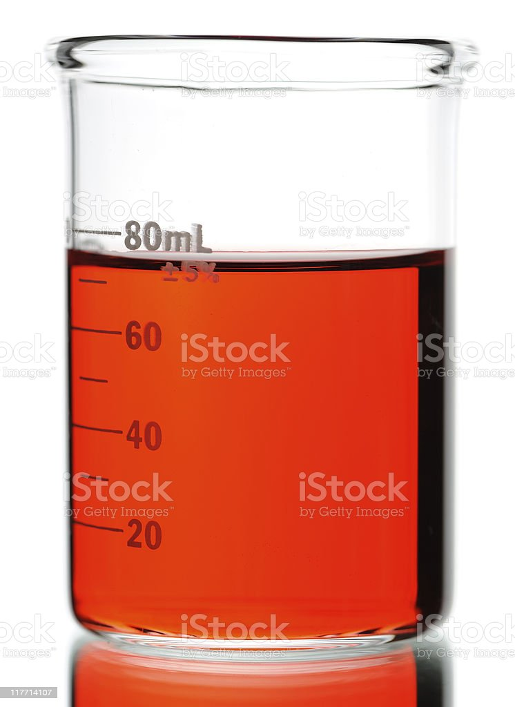 Red Chemical in Beaker Against White Background stock photo