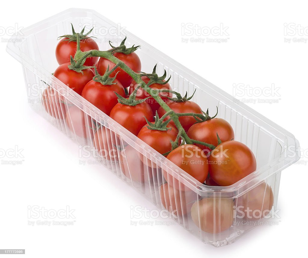 Red Cherry Tomatoes in plastic tray royalty-free stock photo