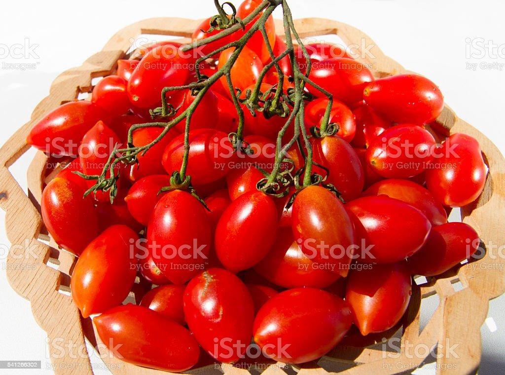 red cherry tomatoes useful vegetarian food stock photo