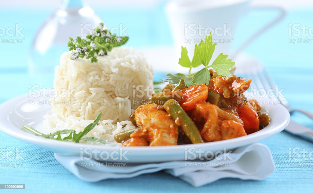 Red chicken curry stripes with rice royalty-free stock photo