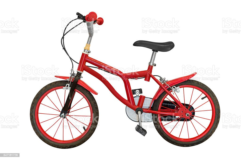 red children's bicycle isolated on white background stock photo