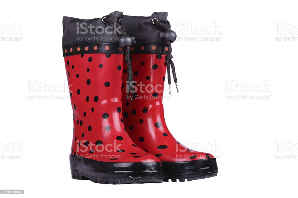 Red children's boots royalty-free stock photo