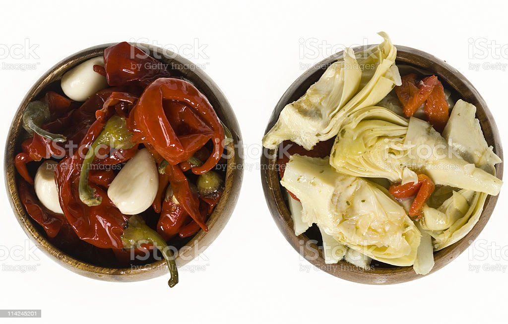 Red chili and artichoke hearts royalty-free stock photo