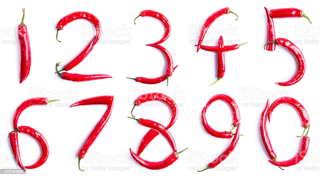 red chili pepper NUMBERS stock photo