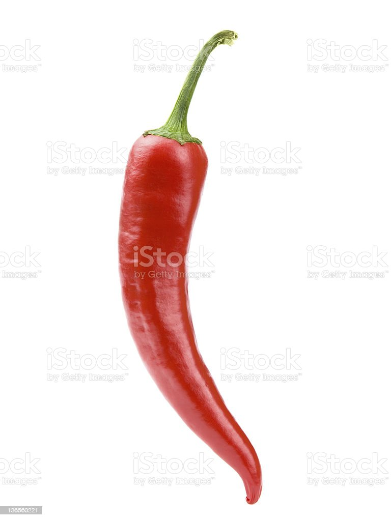 Red chili pepper on white background clipping path stock photo