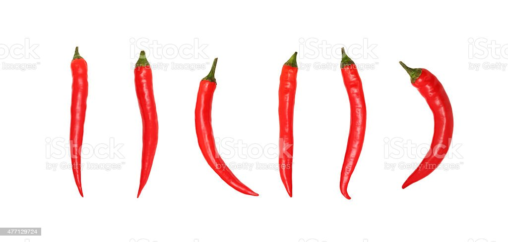 Red chili peppers on white background without shadows stock photo