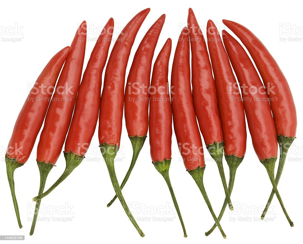 Red Chilis - hand made clipping path included royalty-free stock photo
