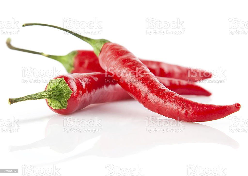 red chilli peppers isolated on white royalty-free stock photo