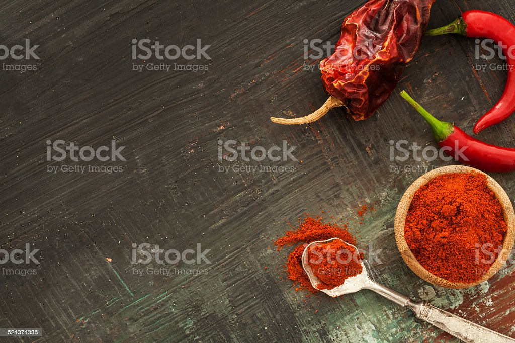 Red chilly pepper and dried chilies stock photo