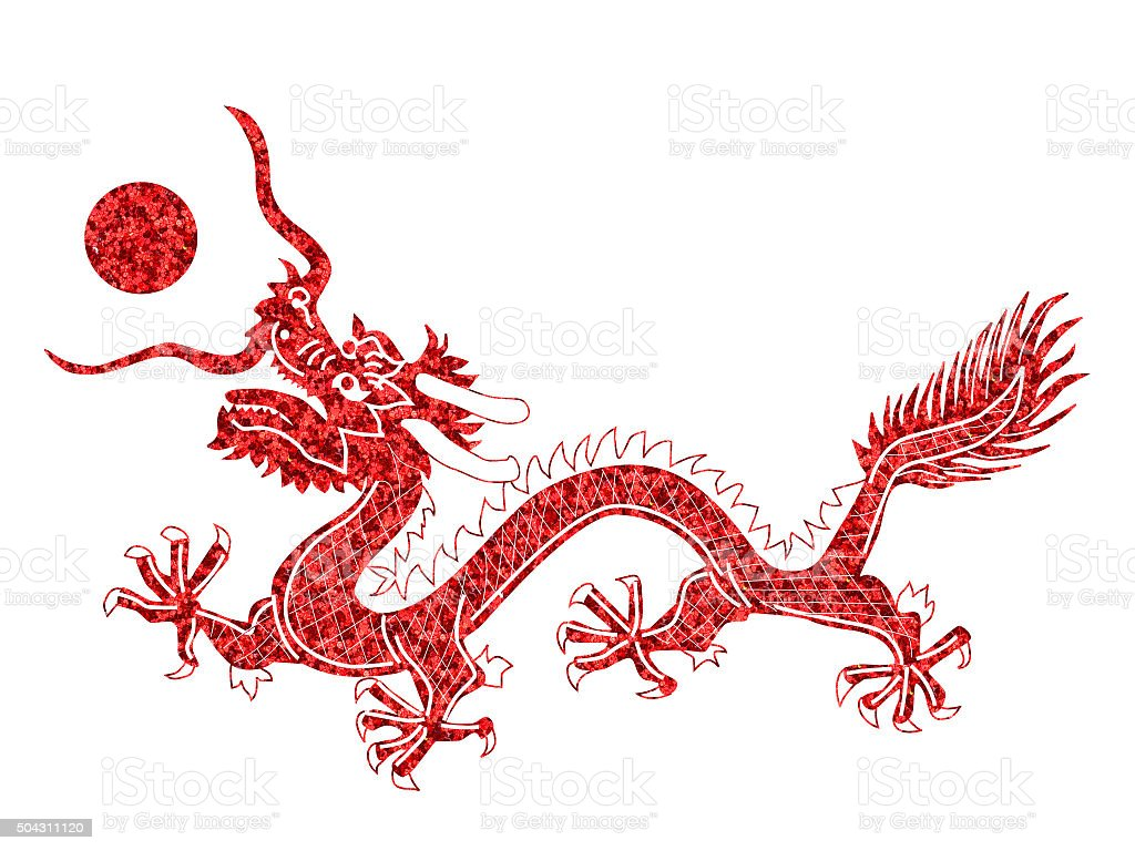 Red Chinese Dragon on black background stock photo
