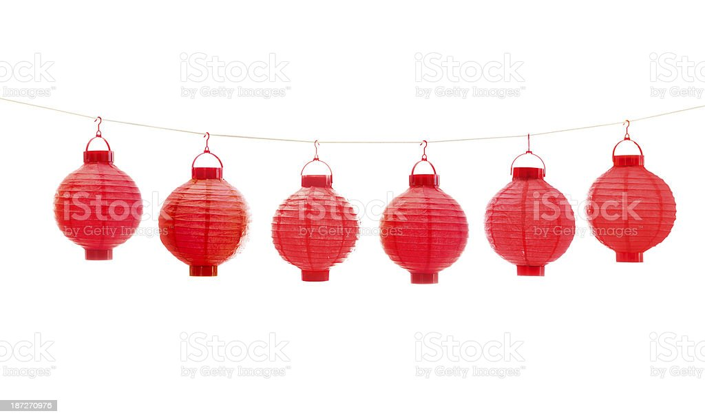 Red Chinese Lantern on White Background stock photo