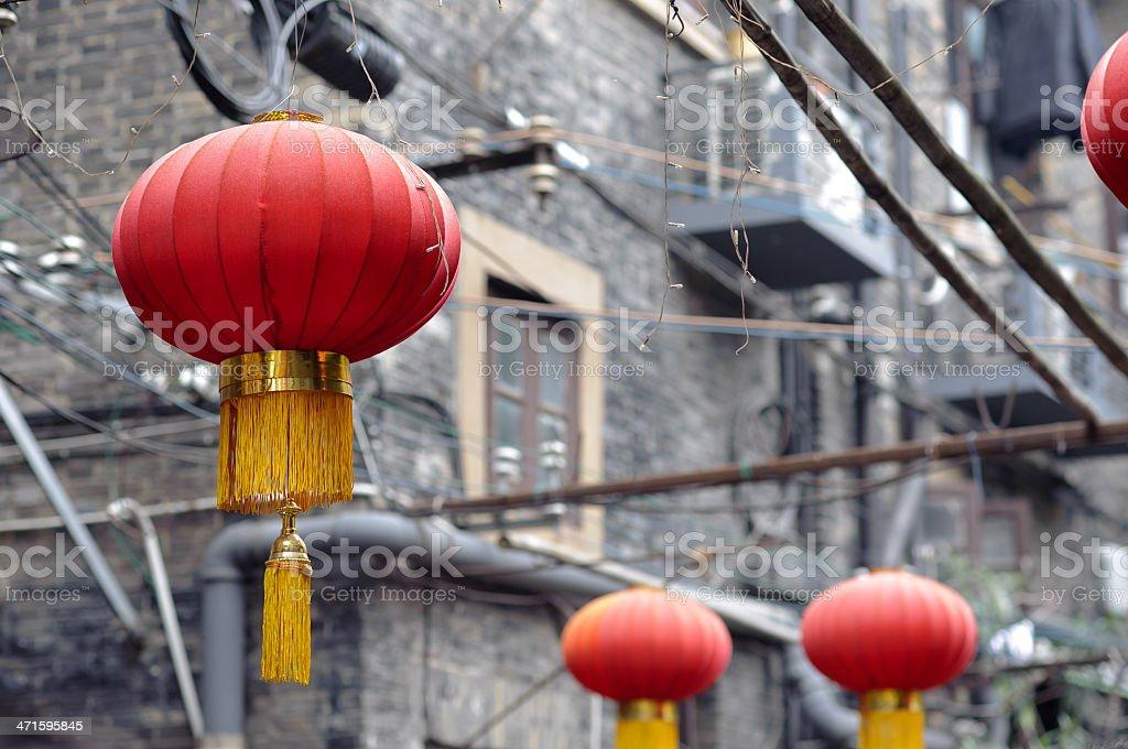 Red Chinese lanterns at Tianzifang, Shanghai stock photo