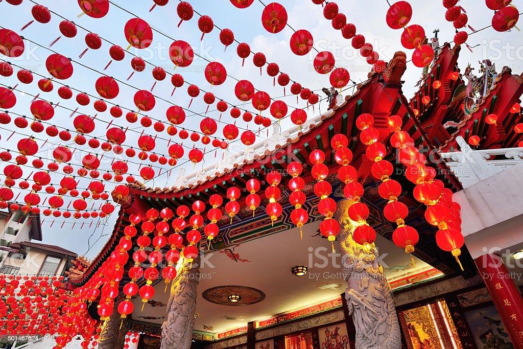 Red Chinese lanterns decoration stock photo