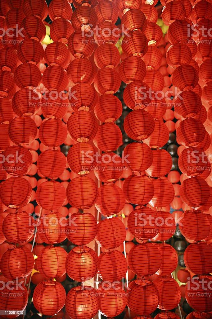 Red Chinese lanterns glowing at night royalty-free stock photo
