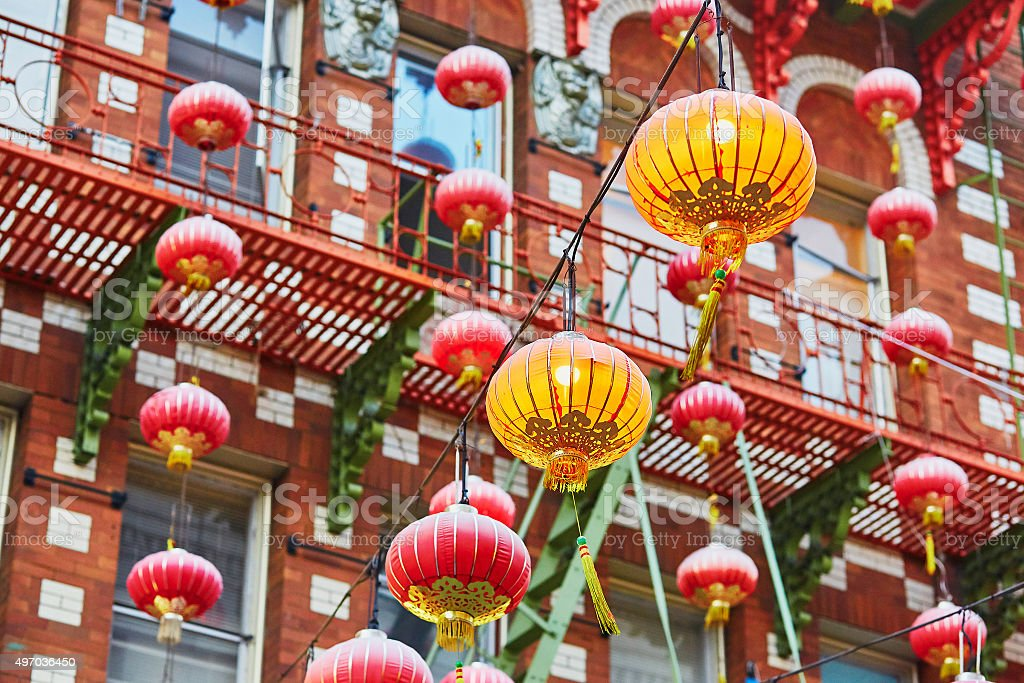 Red Chinese lanterns in Chinatown of San Francisco stock photo