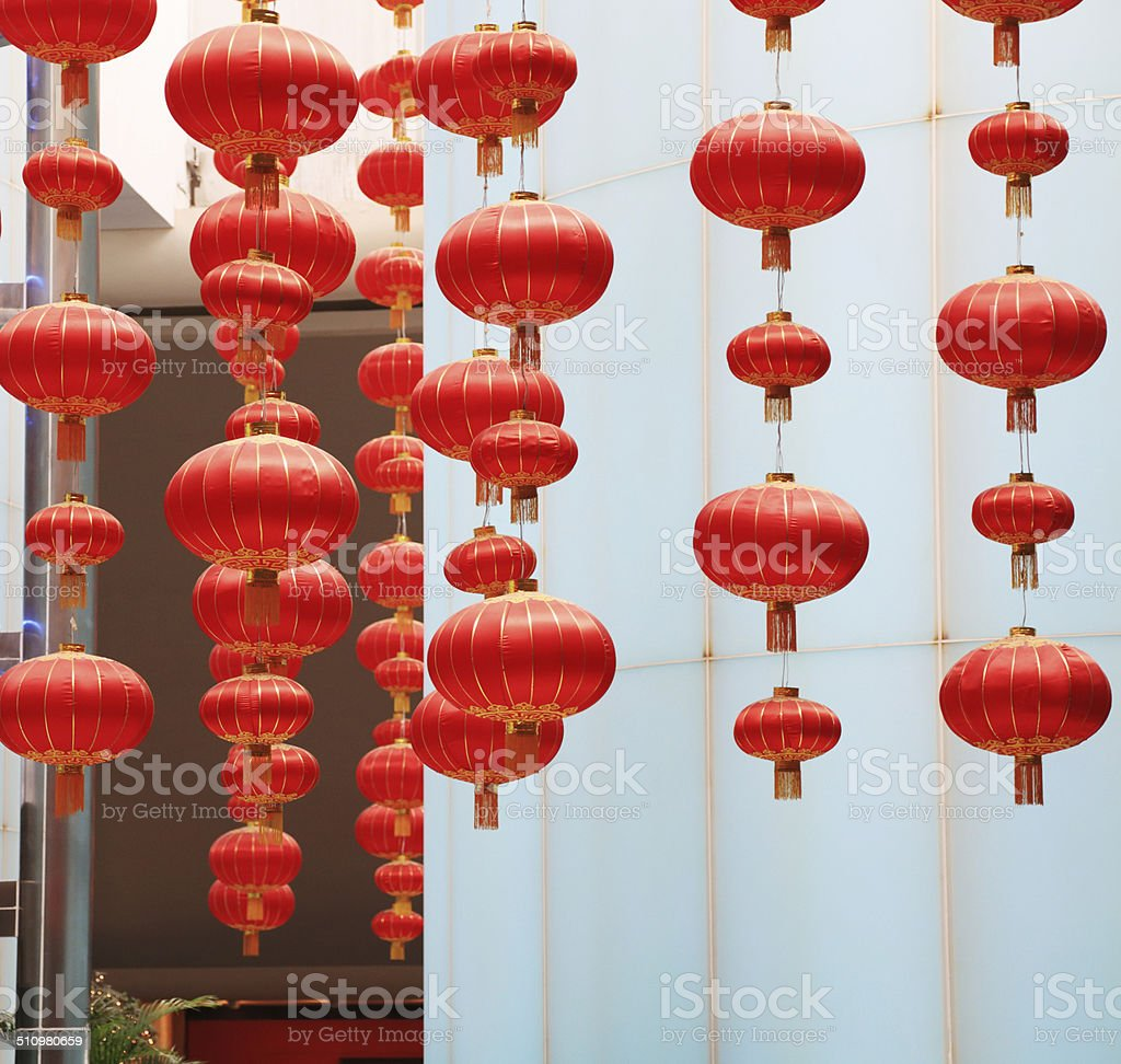 red Chinese lanterns in Interior stock photo