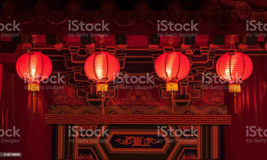 Red chinese lanterns in rows stock photo