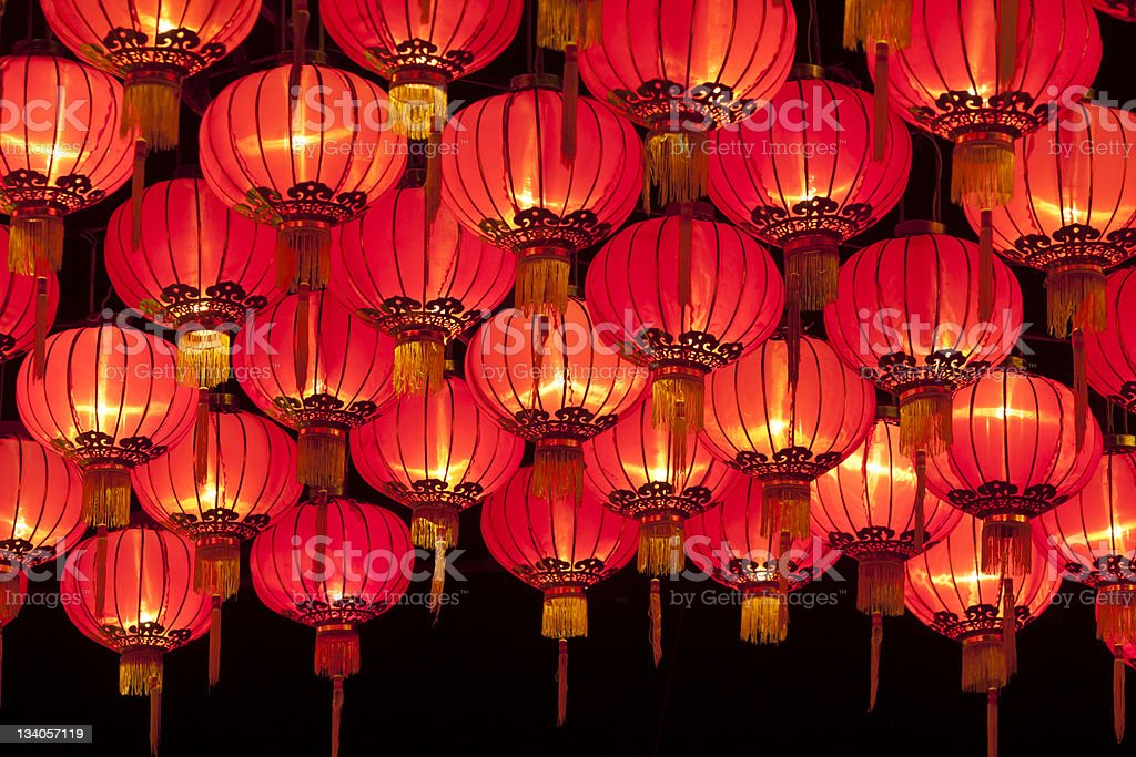Red chinese lanters stock photo
