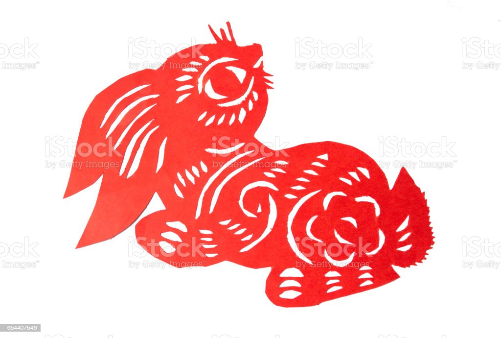 Red Chinese paper cut bunny shape stock photo