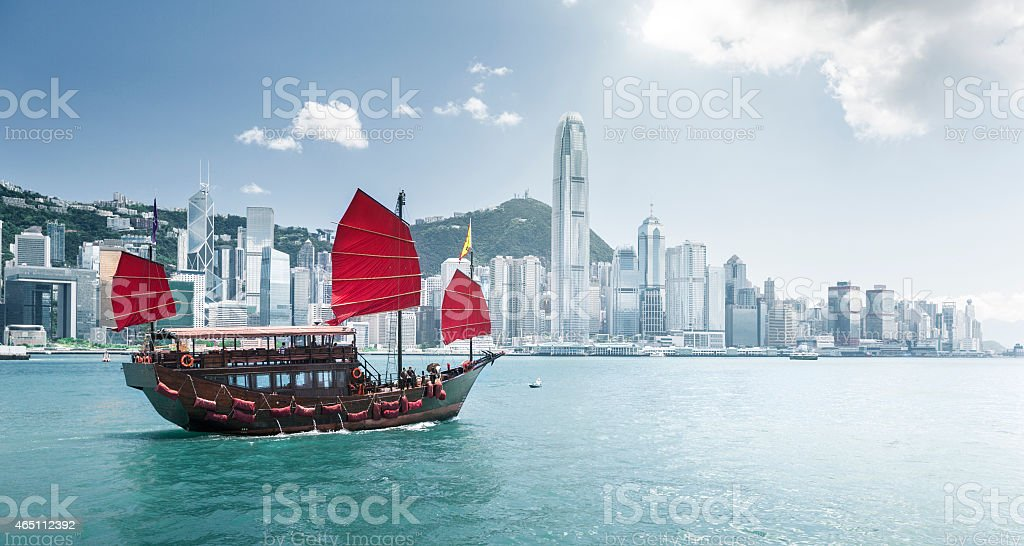 Red Chinese ship on the Hong Kong harbor stock photo