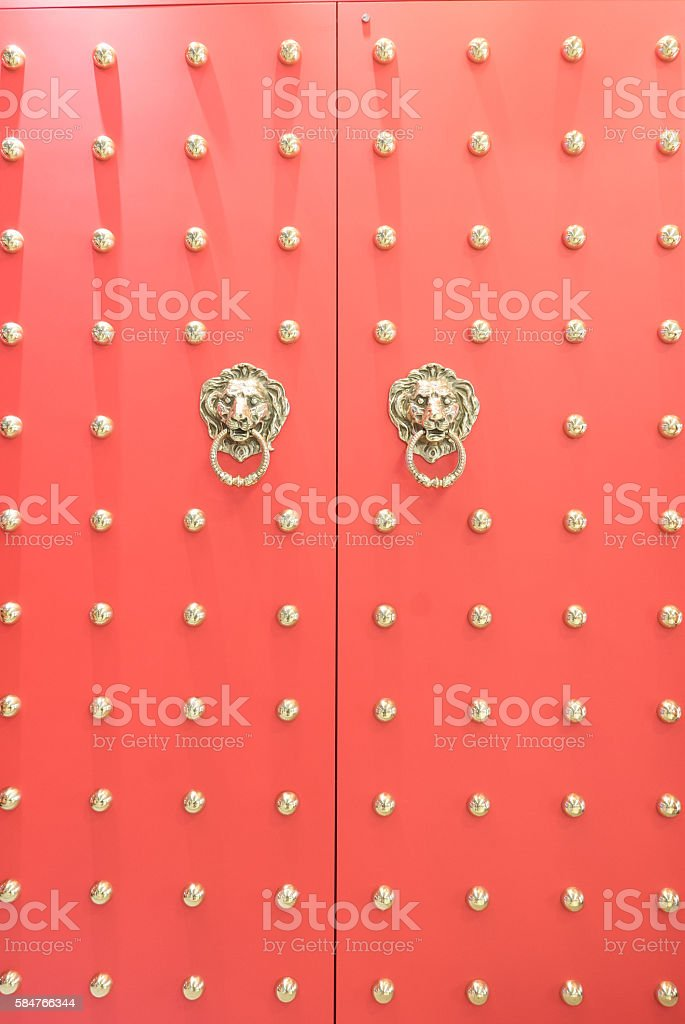 red Chinese temple wooden door stock photo