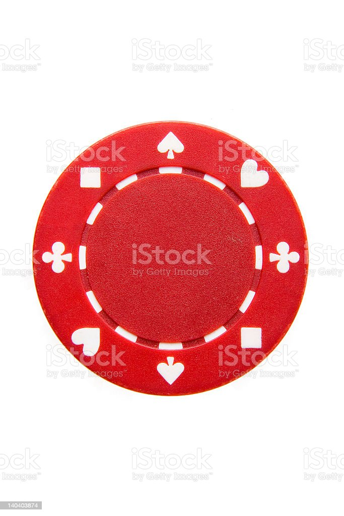 A red chip from a poker series set stock photo