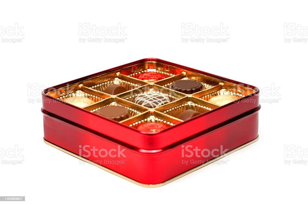 Red chocolate box stock photo