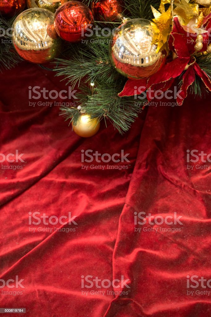 Red Christmas Background  with pionsettia stock photo