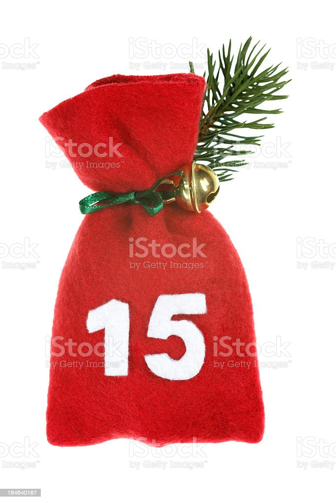 red Christmas bag for advent calendar isolated on white royalty-free stock photo
