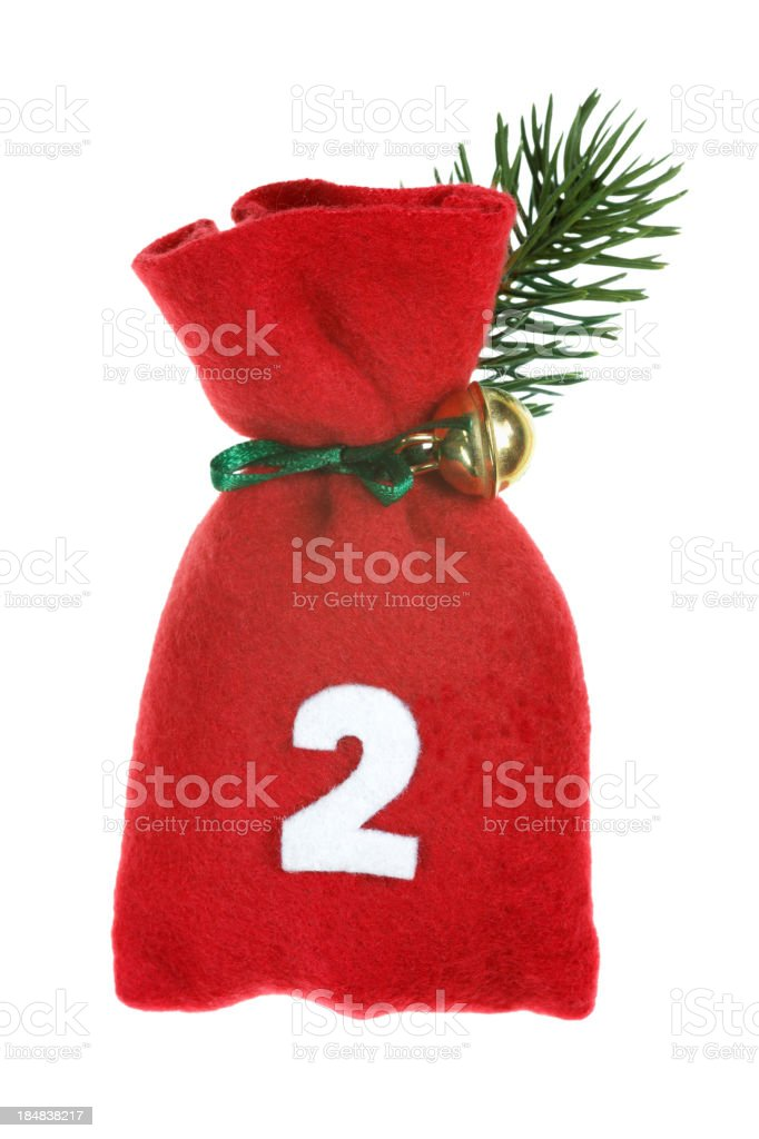 red Christmas bag for advent calendar isolated on white stock photo