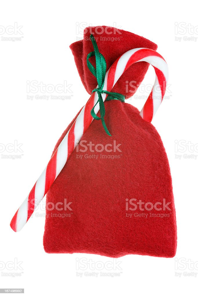 red Christmas bag isolated on white royalty-free stock photo