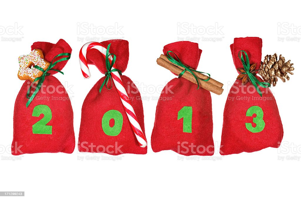 red Christmas bags (year 2013) isolated on white stock photo