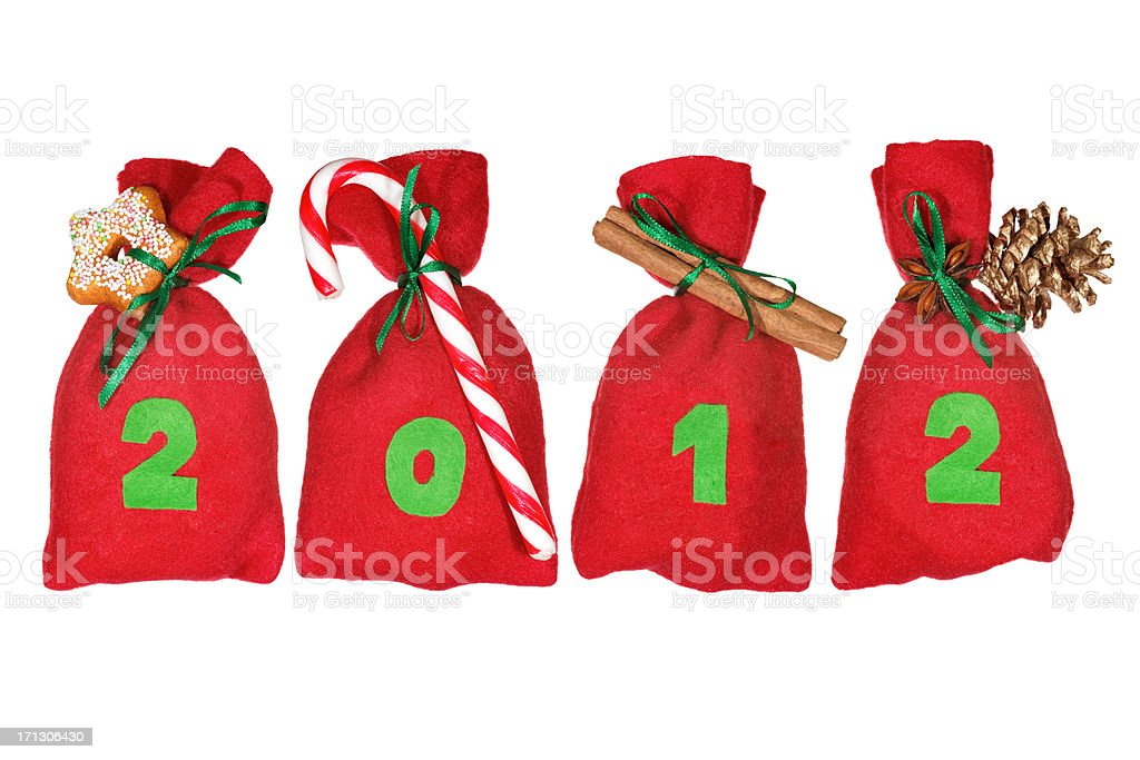 red Christmas bags (year 2012) isolated on white stock photo