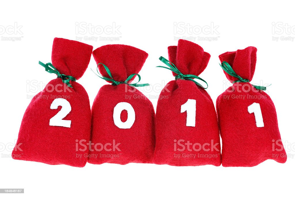 red Christmas bags (year 2011) isolated on white stock photo