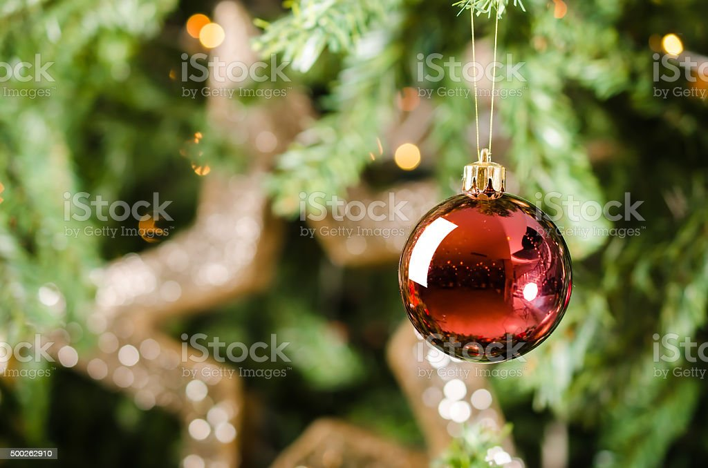 Red Christmas ball decoration on Christmas tree stock photo