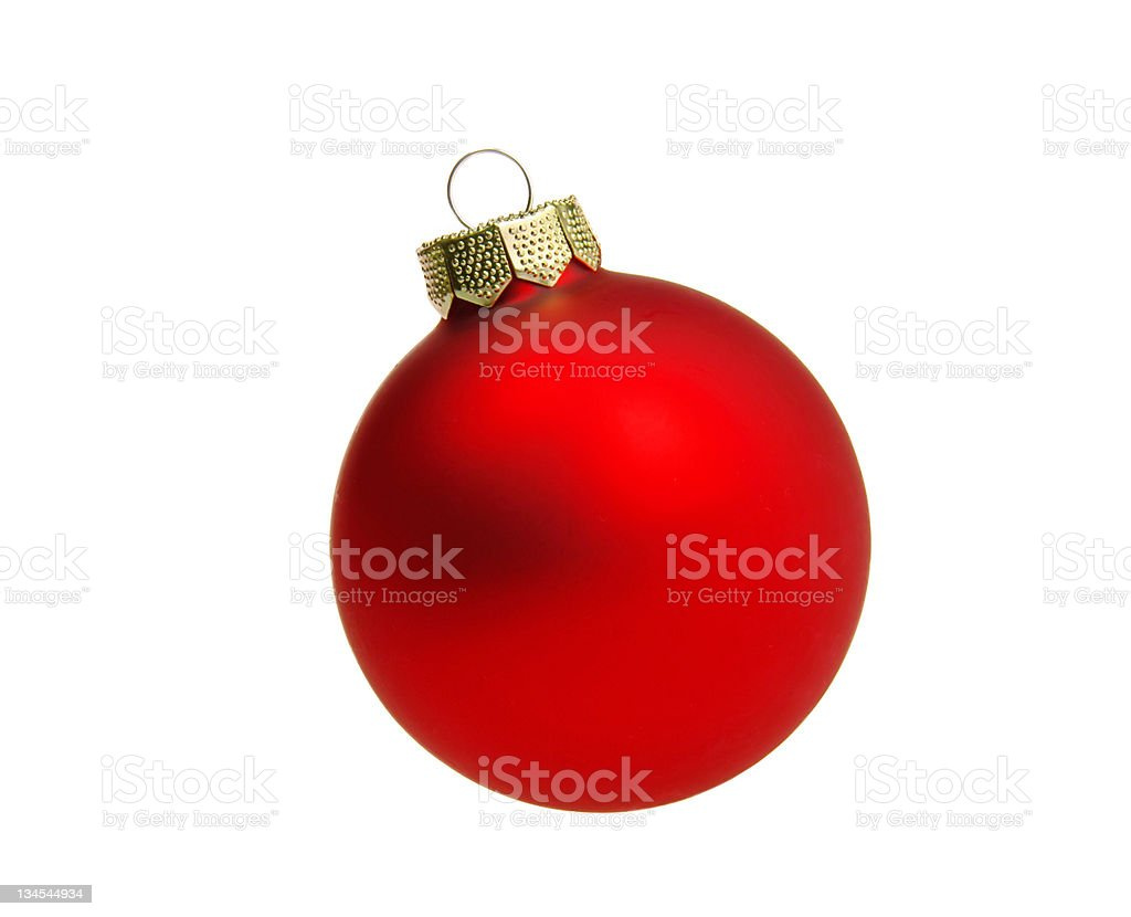 A red Christmas ball isolated on white stock photo