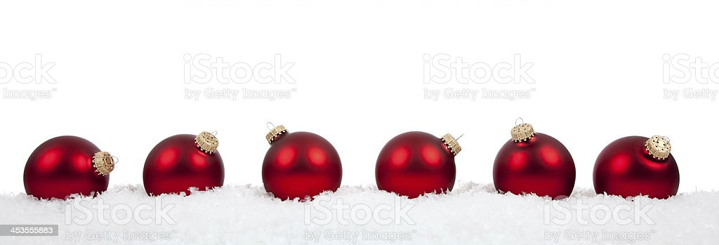 Red Christmas ball ornaments/baubles on white stock photo