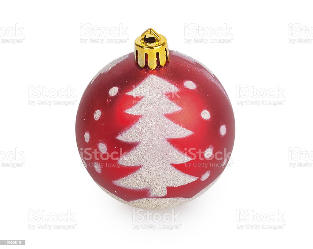 red Christmas ball with painted tree royalty-free stock photo