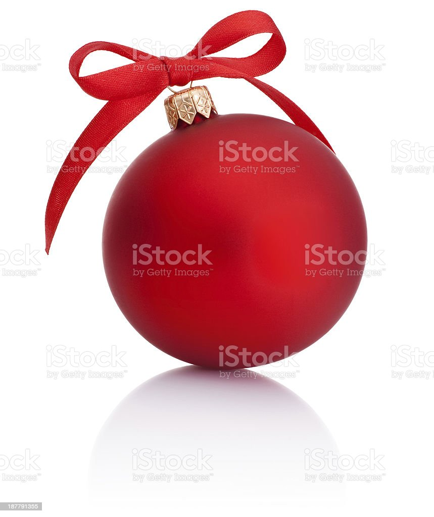Red Christmas ball with ribbon bow Isolated on white background stock photo