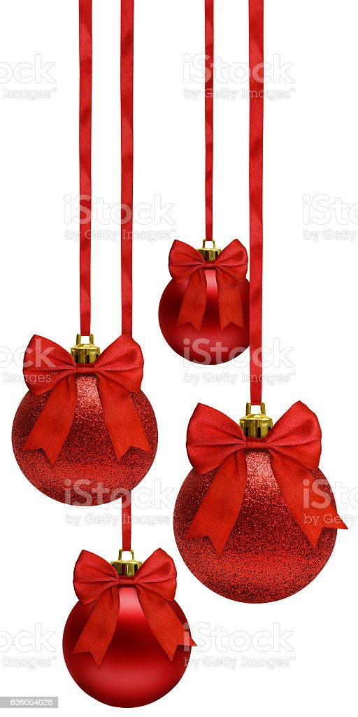Red christmas balls hanging on ribbon bow, over white stock photo
