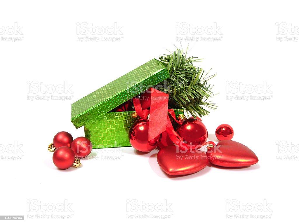 Bolas de Natal de vermelho e verde em branco na caixa foto de stock royalty-free