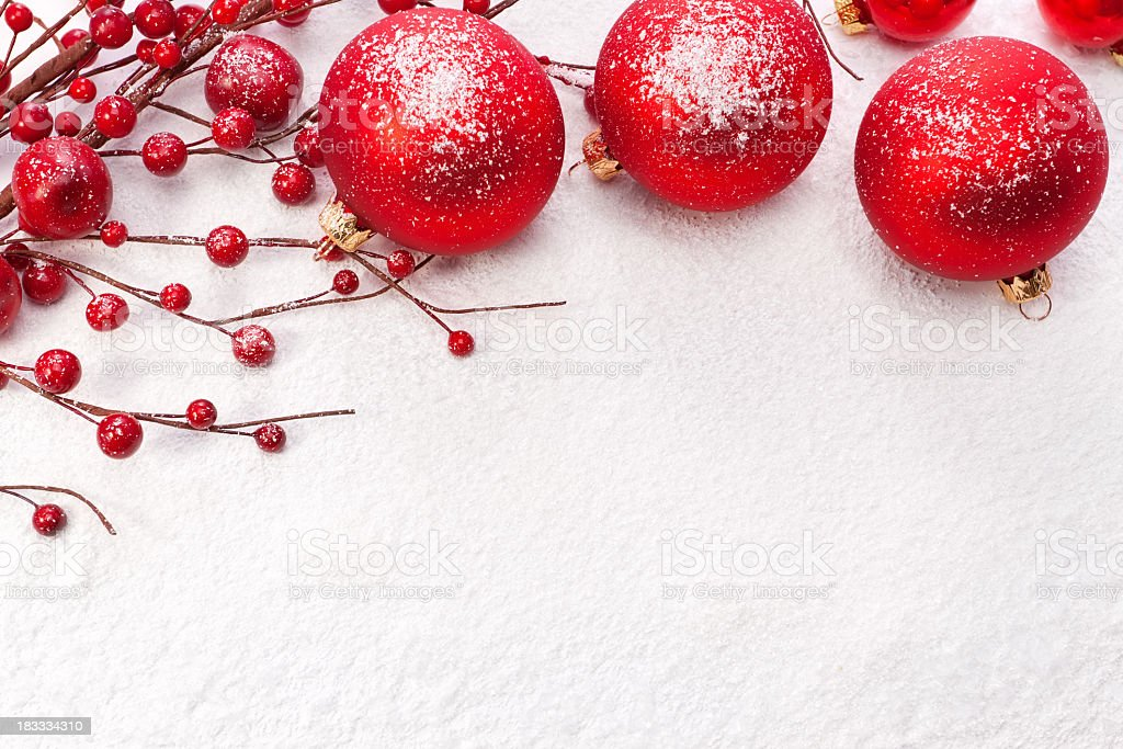 Red Christmas balls on the snow. Christmas decoration. royalty-free stock photo