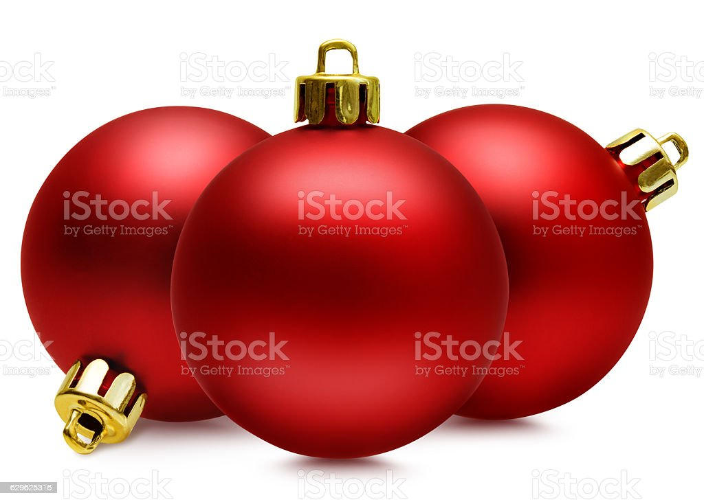 Red christmas balls over white, clipping path stock photo