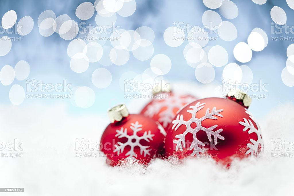 Red Christmas Balls - Snowflake Decoration Snow Ornament Winter Holiday royalty-free stock photo