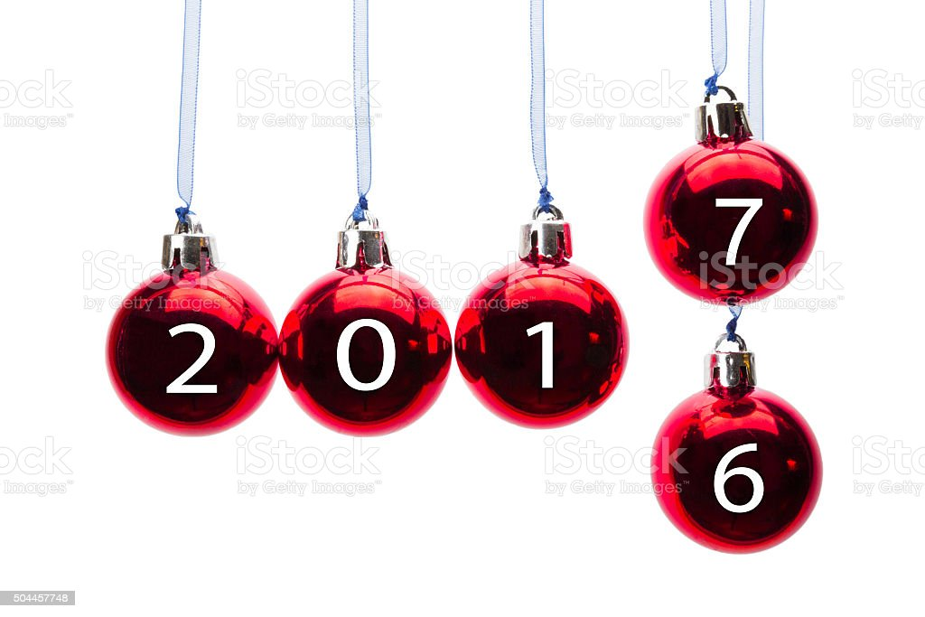Red christmas balls transition old to new year 2017 stock photo